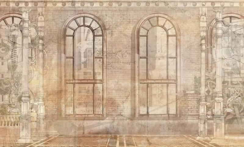 Panoramique de la collection Postmodern. Modèle Through The Windows. Support sans PVC fabriqué en cellulose et fibre. ©Wallpepper®