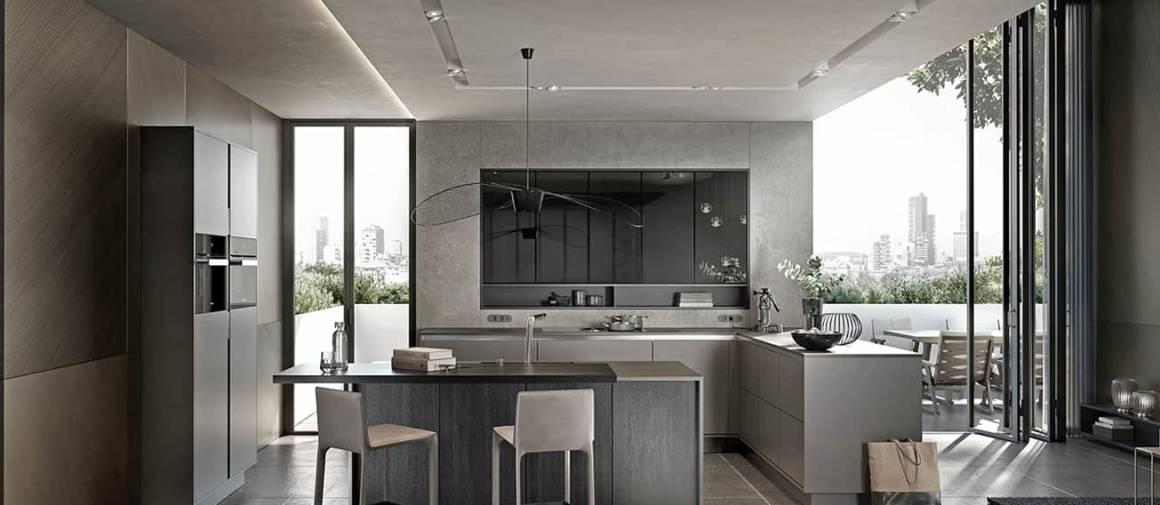 Le nouveau concept SieMatic Pure Collection lie le mobilier à l'architecture. Le cadre fin de 2 cm ceinturant les éléments intégrés offre une cuisine-tableau où les éléments sobres et élégants visent la pureté des lignes. Design Kinzo. ©SieMatic