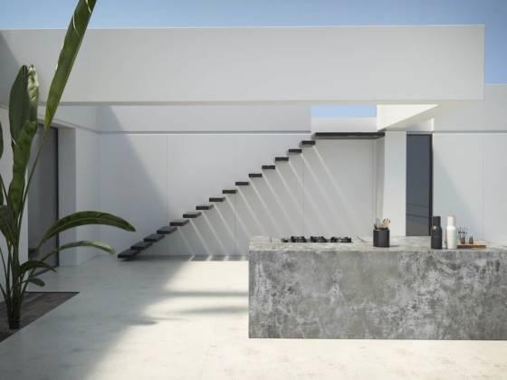 Orix et Nilium – À base de quartz, de verre et de céramique, les surfaces ultra-compactes Dekton®, non poreuses et particulièrement résistantes (au froid, au gel, à l'abrasion ou encore aux taches) sont disponibles en grandes dimensions, dans de nombreuses finitions inspirées de pierres naturelles. Elles offrent ainsi de multiples possibilités d'aménagement notamment en extérieur. À l'instar de la modélisation de projet présentée ici : un patio à ciel ouvert, comprenant un îlot de cuisine, finition Orix et un sol finition Nilium. Du fait de la taille des plaques (jusqu'à 320 x 144 cm), le matériau permet de réaliser des surfaces continues avec très peu de joints. En outre, un traitement Grip, obtenu par sablage, renforce ses propriétés antidérapantes (Cosentino). ©Dekton