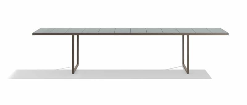Table nox en acier inoxydable laqué et plateau en pierre de lave émaillée