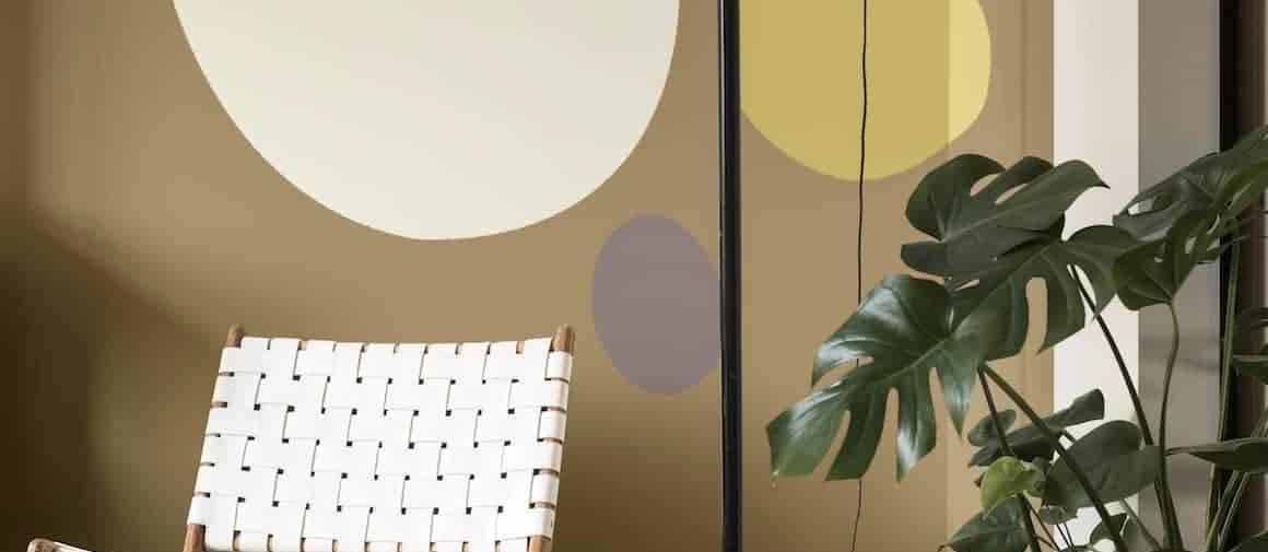 Palette des tendances 2018, collection « La maison récréative », coloris « Jaune Rétro », « Cocon » « Jaune Frais », « Amande Douce », « Brun Cachemire ». ©Dulux Valentine
