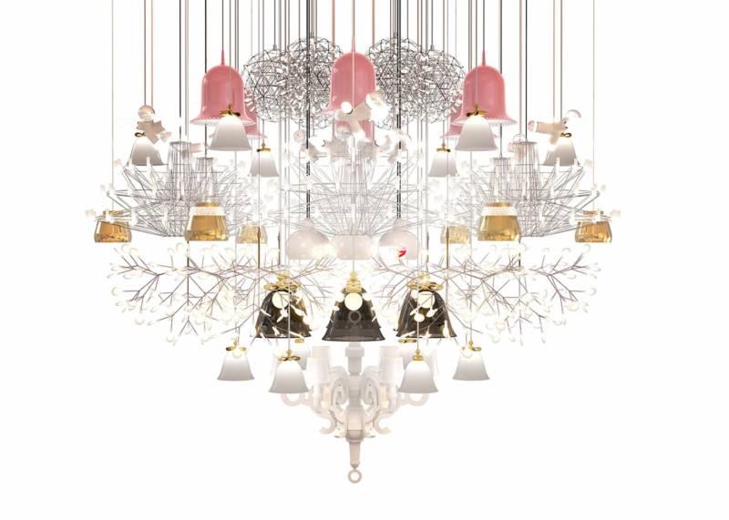 Composition mega chandelier à partir des lampes moooi