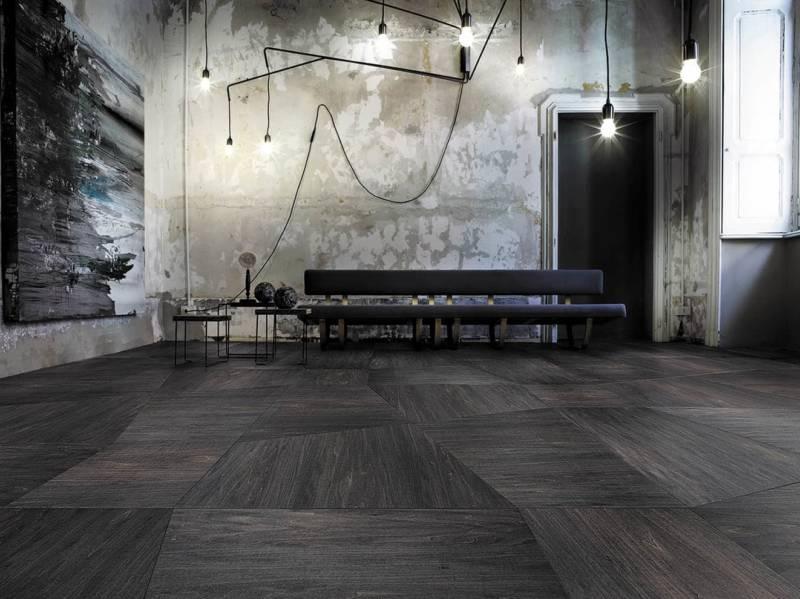 Présentée à Milan, à la Design Week, cette nouvelle surface en bois, Perigal, a été élaborée avec Paola Lenti. Le bois est teint dans des couleurs mates laissant apparaître les veines naturelles du matériau. ©Listone Giordano
