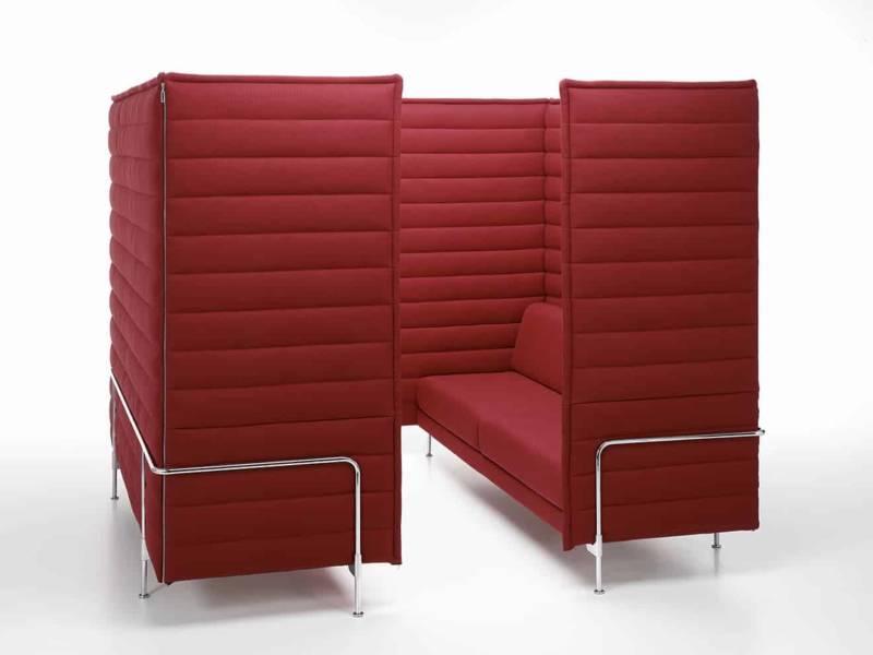 Microarchitecture Alcove Cabin, pour 4 à 6 personnes, avec protection acoustique périphérique, en tissu. Design R. & E. Bouroullec. ©Vitra