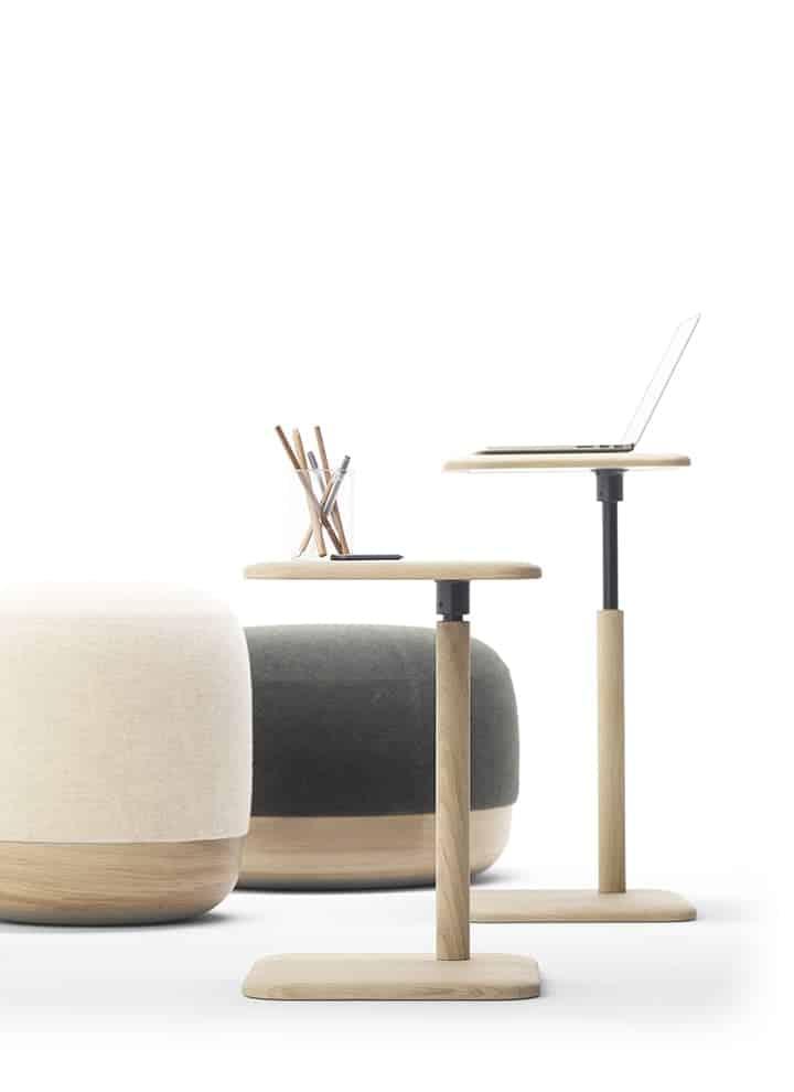 Poufs, en bois et partie tapissée et tables Egon, en chêne massif ceinturé de fer forgé main. Design Iratzoki & Lizaso. Photo Mito. ©Alki