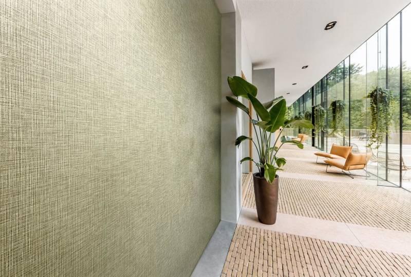 Revêtement vinyle Greenbo, tissu organisque naturel en duoton. Largeur +:- 130 cm. ©Vescom