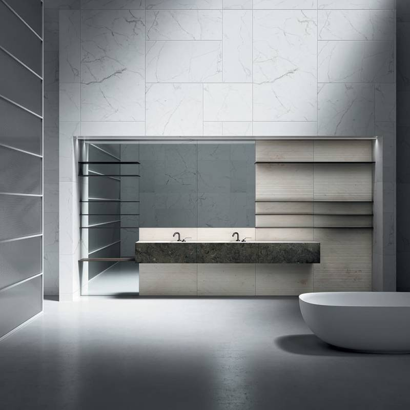 boffi Upper Wall bathroom cabinets and washabsin frontal