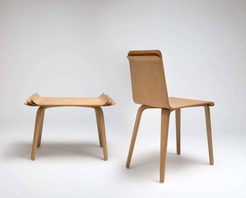 Mobilier – Chaise et tabouret Multipli – 2013. ©Helene Hilaire