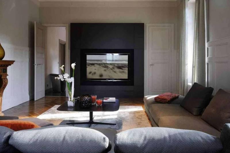 Salon télévision avec intégration audiovisuelle réalisée par DSR (Lyon 2ème) Photographe Erick Saillet