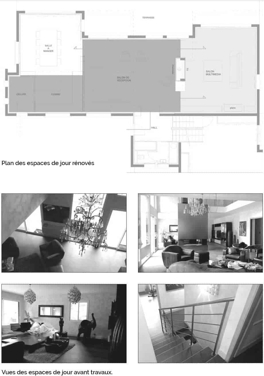 Plan des espaces de jour rénovés - Vues des espaces de jour avant travaux.