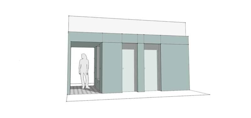 Mise en scène de l'élément structurel en forme de boîte. Côté escalier avec vestiaire, sanitaires et local technique. Architectes Charlotte Bollard (Ilo Ilo) - Victoria Torikian (VBT Architecture)