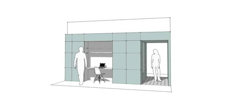 Mise en scène de l'élément structurel en forme de boîte. Côté entrée principale, avec bureau et vestaire traversant. Architectes Charlotte Bollard (Ilo Ilo) - Victoria Torikian (VBT Architecture)