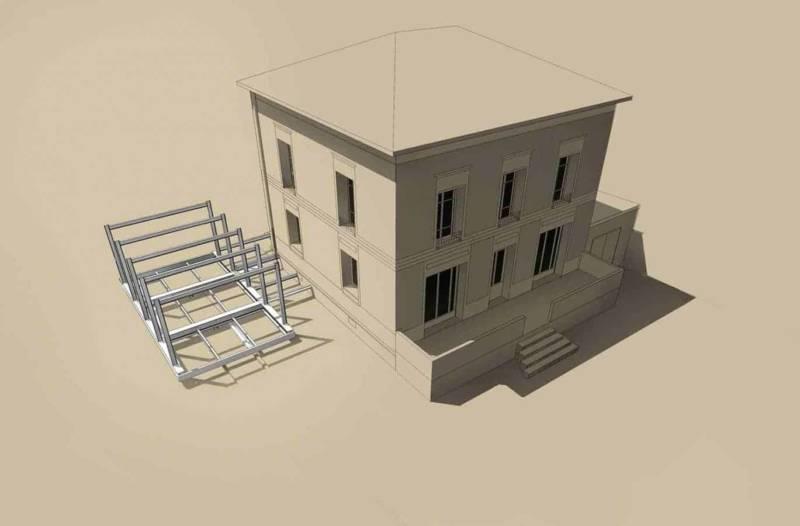 Ossature en métal de l'extension Architectes Laurent Mayoud et Nils Degrémont Agence Playtime