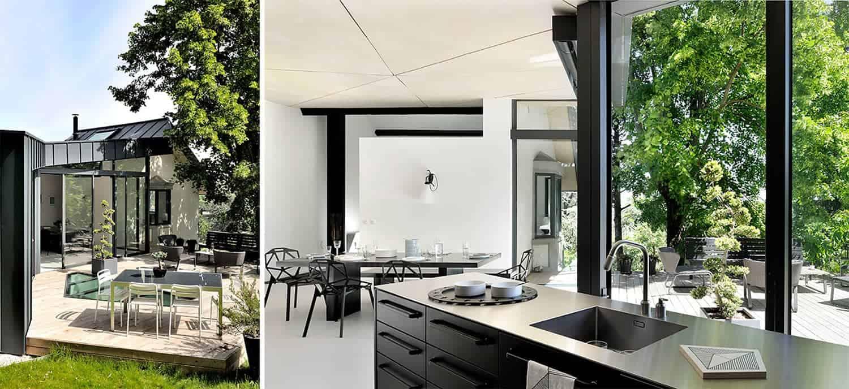 La partie vitrée, dialoguant avec le jardin, est un élément structurel à part entière.