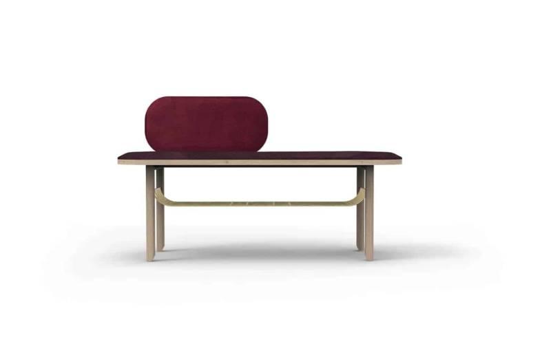Eustache, banc en chêne naturel, laiton brossé et velours. 120 x P 40 x H 45 cm. Design Margaux Keller. ©Hartô