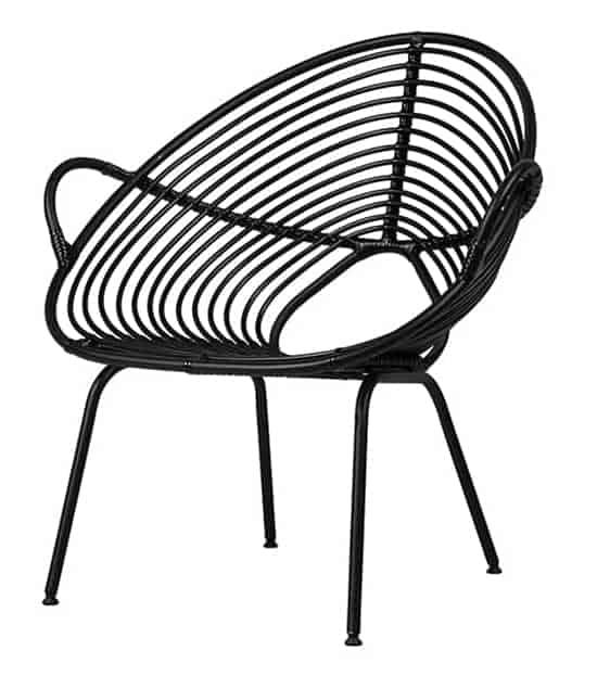 Fauteuil Rocco Lazy Chair, en osier et cadre aluminium. 82 x P 70 x H 85 cm. ©Vincent Sheppard