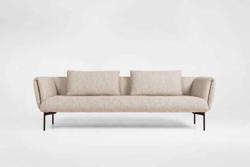 Impression, sofa en contreplaqué multicouche, métal et sangle élastique. Tissu amovible. 165 x P 90 x H 70 cm. Design Meike Harde. ©Prostoria
