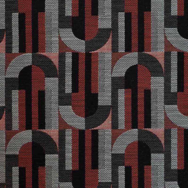 Jacquard Bauhaus Vendange, en coton, laine et polyamide. Laize 145 cm. Rideau, siège et accessoire. ©Métaphores