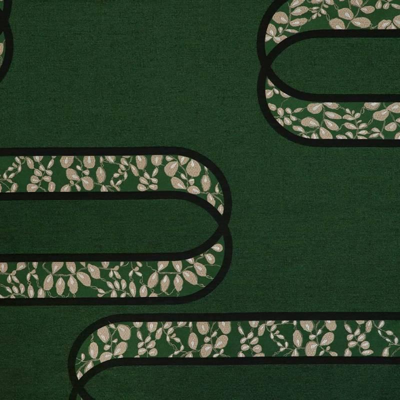Jacquard Lutetia Veronese, en coton et soie. Siège. Laize 138 cm. ©Verel de Belval – Créations Métaphores