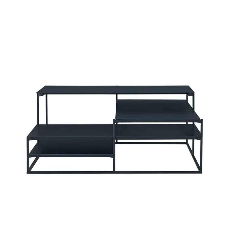 Lowlands, table basse en acier oxydé bleui. 80 x 80 x H 33 cm. Design Böttcher & Kayser. ©Ligne Roset