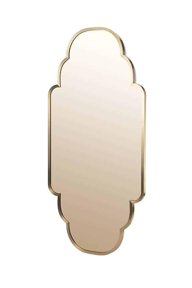 Morocco! Yallah, miroir en acier inoxydable et revêtement brossé champagne, finition polie mate. 65 x P 3 x H 160 cm. ©Maison Dada