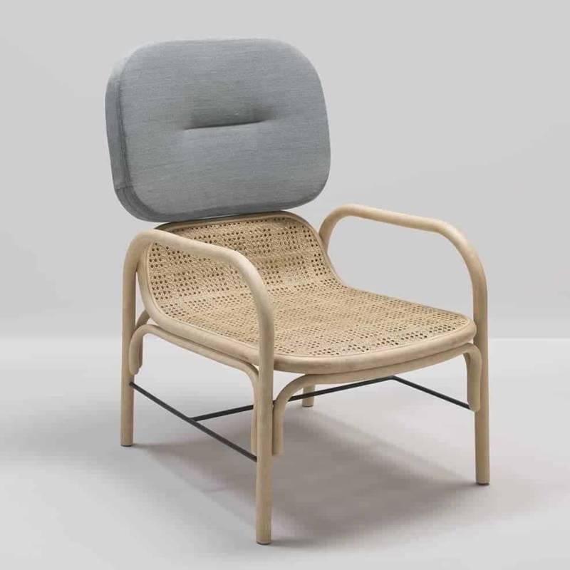 Plus, fauteuil en rotin, cannage, métal et tissu Gabriel. 57 x P 75 x H 95 cm. Design Studio AC:AL. ©Orchid Edition
