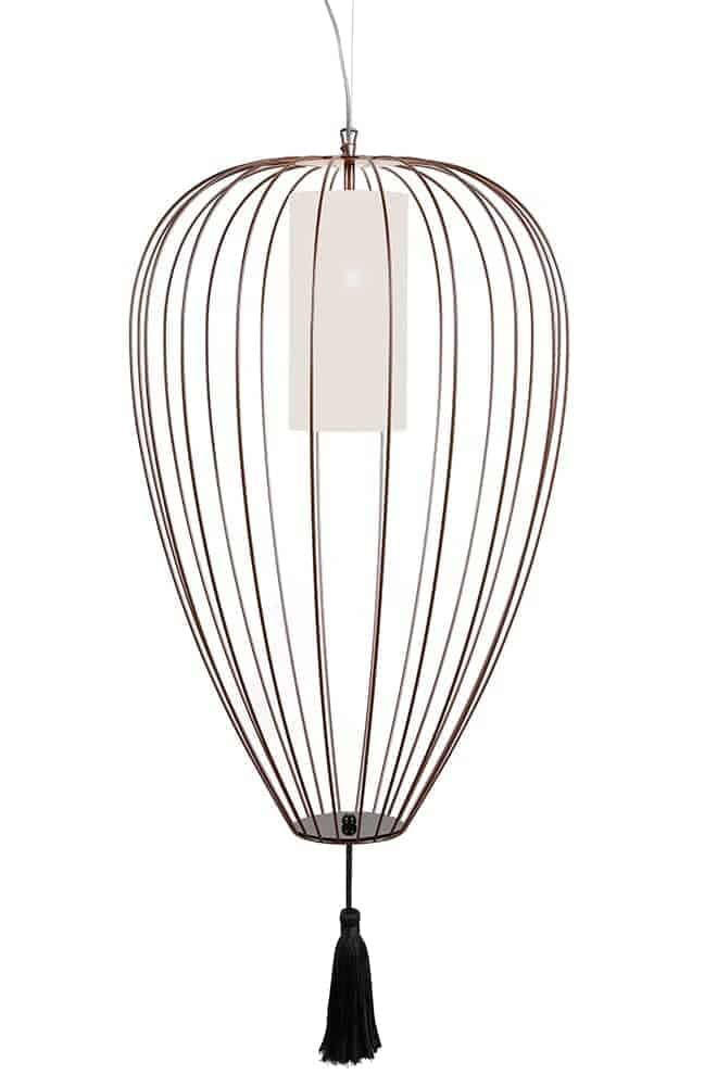 Cell, suspension en fil d'acier laqué, finition bronze brillant. Diffuseur PMMA. 3 dimensions. Design Matteo Ugolini. Karman
