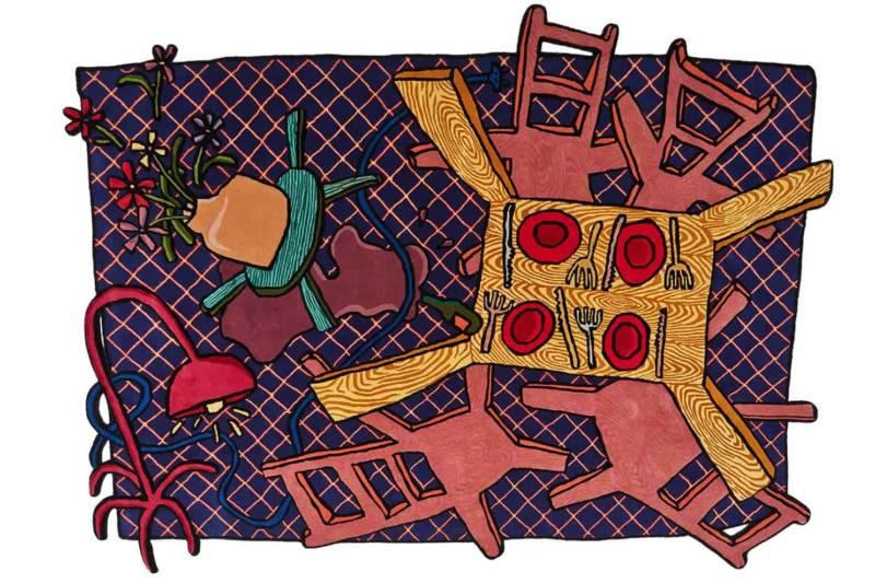 Flatter, tapis sur-mesure tufté main, en laine et zari. Design Maarten Baas. ©Nodus