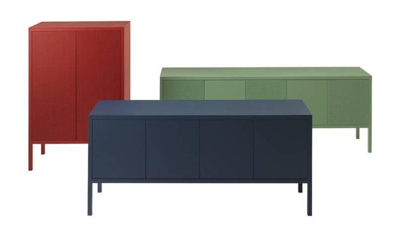 Frame, systèmes d'armoires et buffets, en métal et acier inoxydable. 40 coloris. Design Salvatore Indriolo. ©Fantin