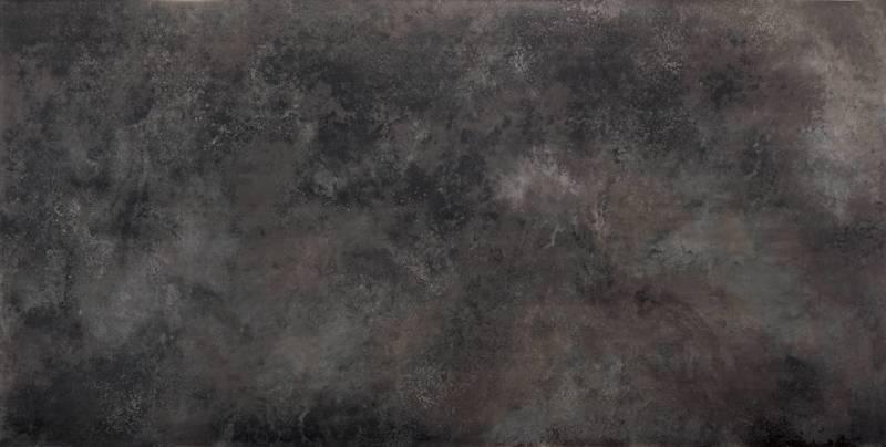 Grande surface en céramique pour plans de travail (162 x 324 cm), reproduisant l'acier oxydé. Modèle Ossido Nero. Ép. entre 20 et 12 mm. ©Laminam