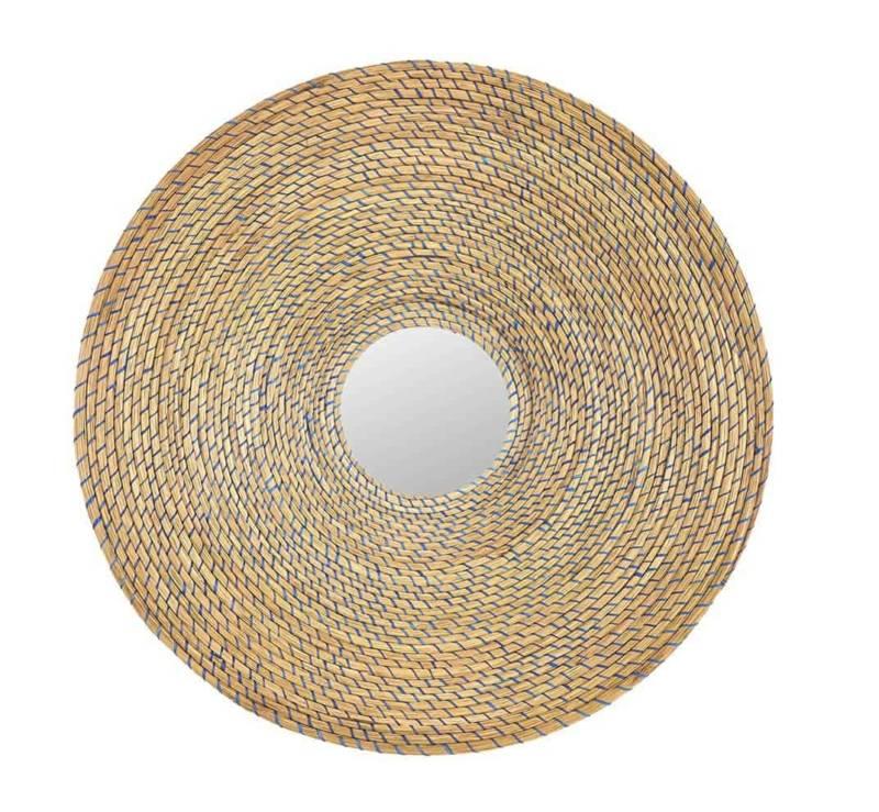 Killa, miroir en fibres de palmier iraca et fils métalliques. ø 62 cm. Design Pauline Deltour. ©Ames