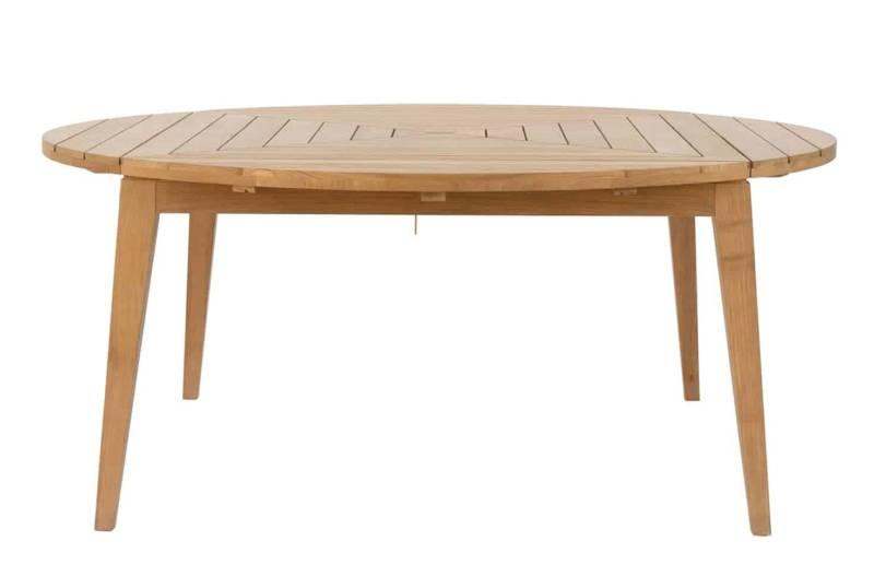 Milton, table en teck pouvant devenir ovale, rectangulaire ou carrée, via les rallonges intégrées. ©Unopiù