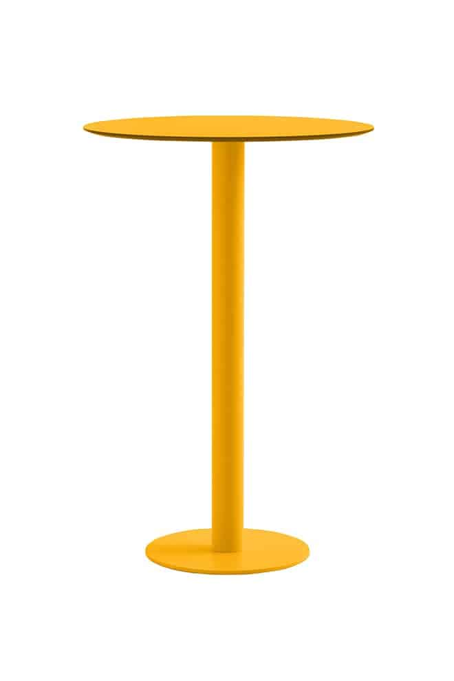 Mona, table de bar en acier zingué thermolaqué et plateau phénolique. ø 70 x 105 cm. ©Diabla