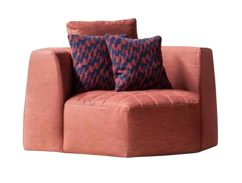 Panorama, fauteuil en bois et tissu, à combiner. Good Design® 2018-2019. L 128 x P 110 x H 82 cm. Design Fabrice Berrux. ©Bonaldo