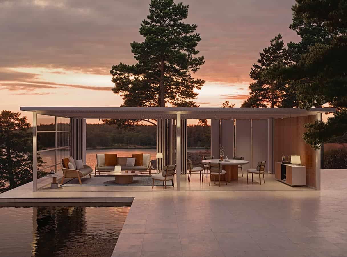 Pavilion H, système d'architectures pour créer des espaces ouverts et fluides. Structure en aluminium profilée (30 finitions), choix de toitures (vénitienne, électrique bioclimatique, bois…), panneaux latéraux, éclairage, prises de courant et textiles… ©Kettal