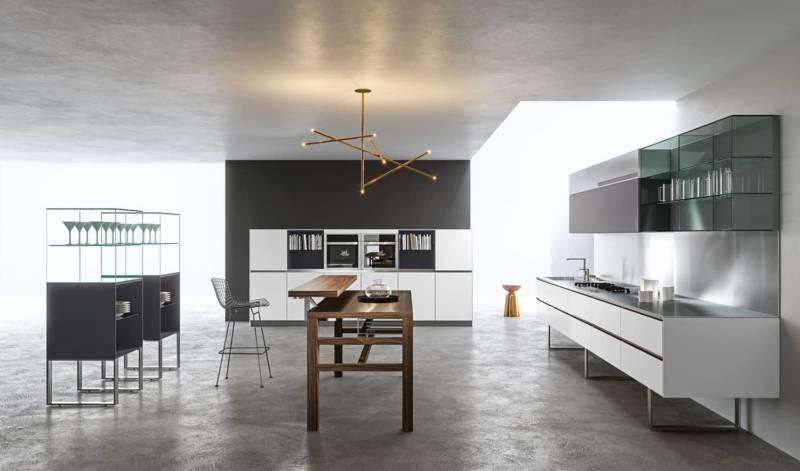 Programme Sipario, imaginé comme une scène théâtrale, portant son attention sur l'art culinaire, de la préparation à la cuisson, jusqu'à la dégustation. Design Makio Hasuike. ©Aran Cucine