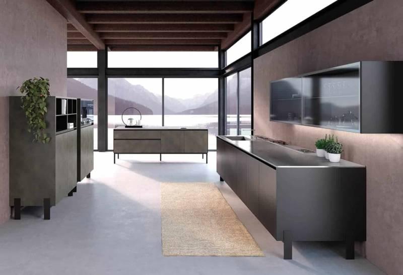 Rialto vise un design urbain et aérien, oscillant entre métal (vernis Peltro Molteni) et au dos des modules avec le verre, pour une vision à 360°. ©Comprex