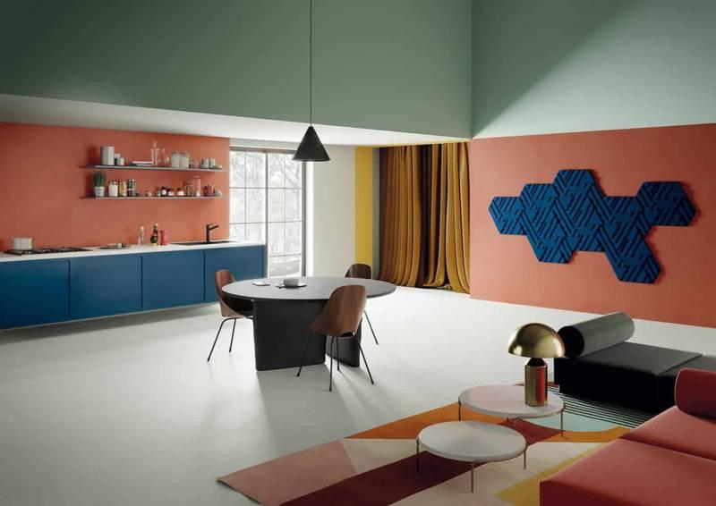 Rilievi, carreaux de céramique tridimensionnels. Disponibles en différentes formes et couleurs géométriques. Modèle #1, coloris outremer – 36 x 35 cm. Design Zaven. ©Cedit