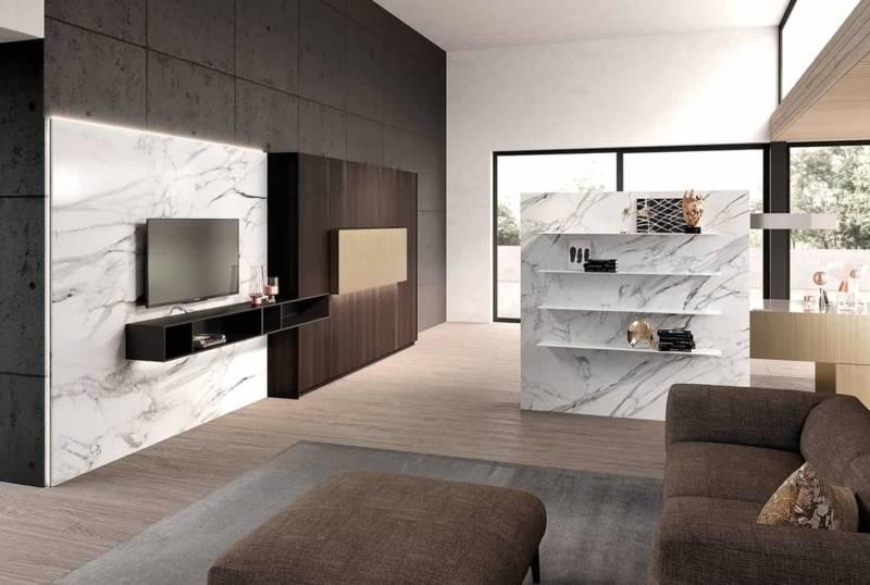 Système complet Monolith Island domptant les espaces de vie autour de la cuisine, avec une composition et des finitions similaires, comme les portes laquées Brushed Nickel effet métal. ©Comprex