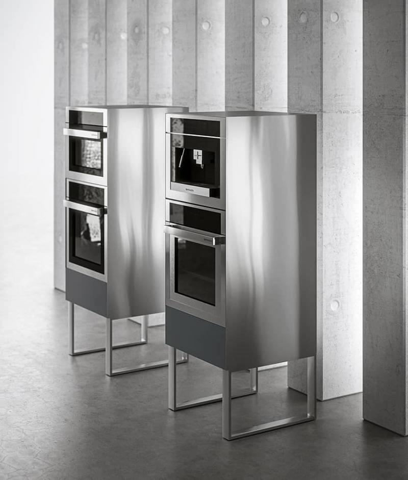 Totems modulaires configurables, pour le rangement ou l'électroménager encastré. © Aran Cucine