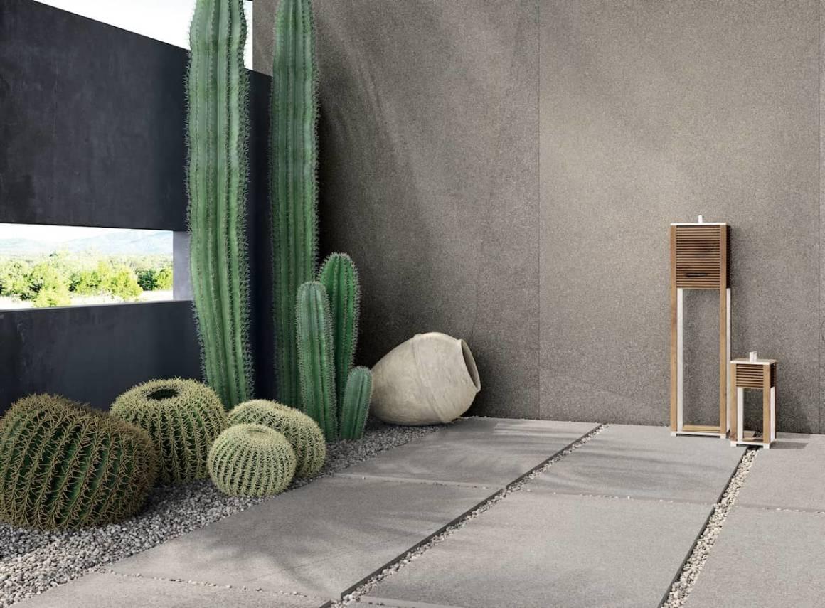Revêtement grès cérame River, imitation pierre naturelle. Modèle Earth 120 x 240 cm et Ecru 60 x 120 cm. Ép. 20 mm. Existe en 10 formats. ©Flaviker