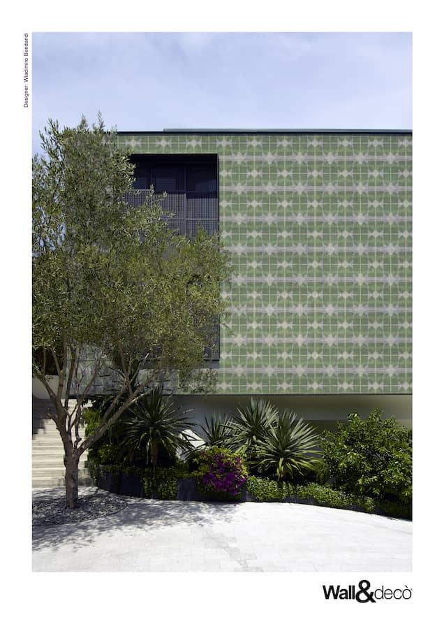 Papier peint imprimé Out System, dédié aux surfaces extérieures, résistant à la pluie et aux UV. Modèle Justeat. Design Wladimiro Bendandi. ©Wall&Decò