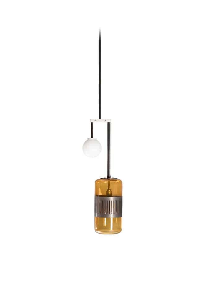 Lizak Drop – Suspension avec abat-jour en verre ambré