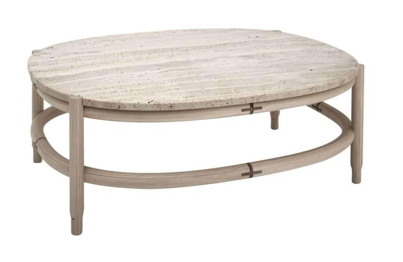 So Table – Table basse en travertin et cadre arrondi en bois de tilleul