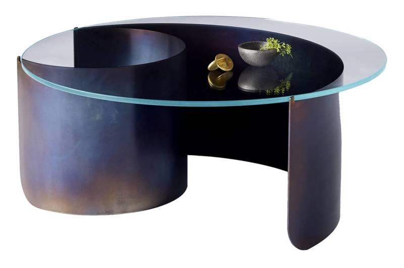 Wave – Table basse avec plateau en verre saphir et acier