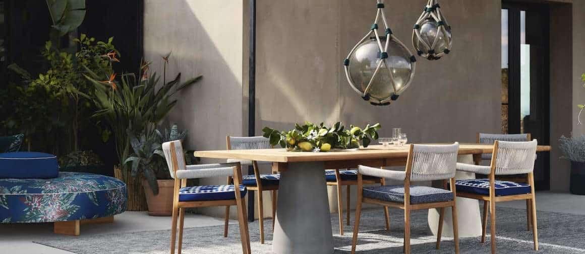 Mobilier Dine Out. Design Rodolfo Dordoni. Tapis Tantra et lampes Nautilus – Cassina