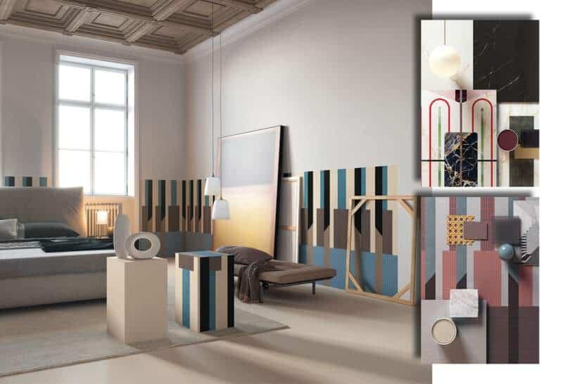 Collection Chimera. 3 formats. 120 x 120:240 cm et 60 x 120 cm. Ép. 20 mm. 4 motifs. 20 couleurs. Mat ou brillant. Design Elena Salmistraro. ©Cedit