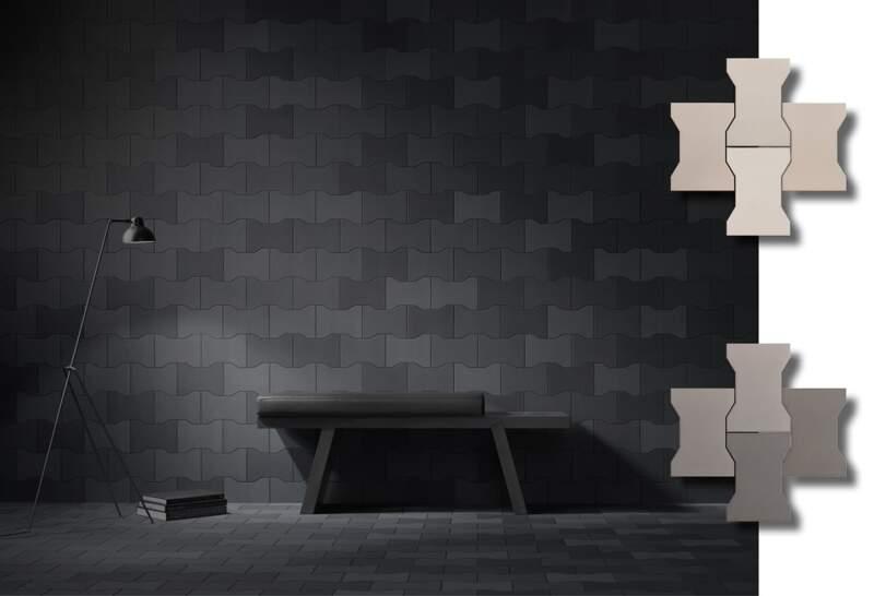 Collection Equus. Modèle Pavé Black. 16,8 x 23,3 cm. Sol mat. Design Catherine Braconnier. ©Sartoria – Terratinta Group