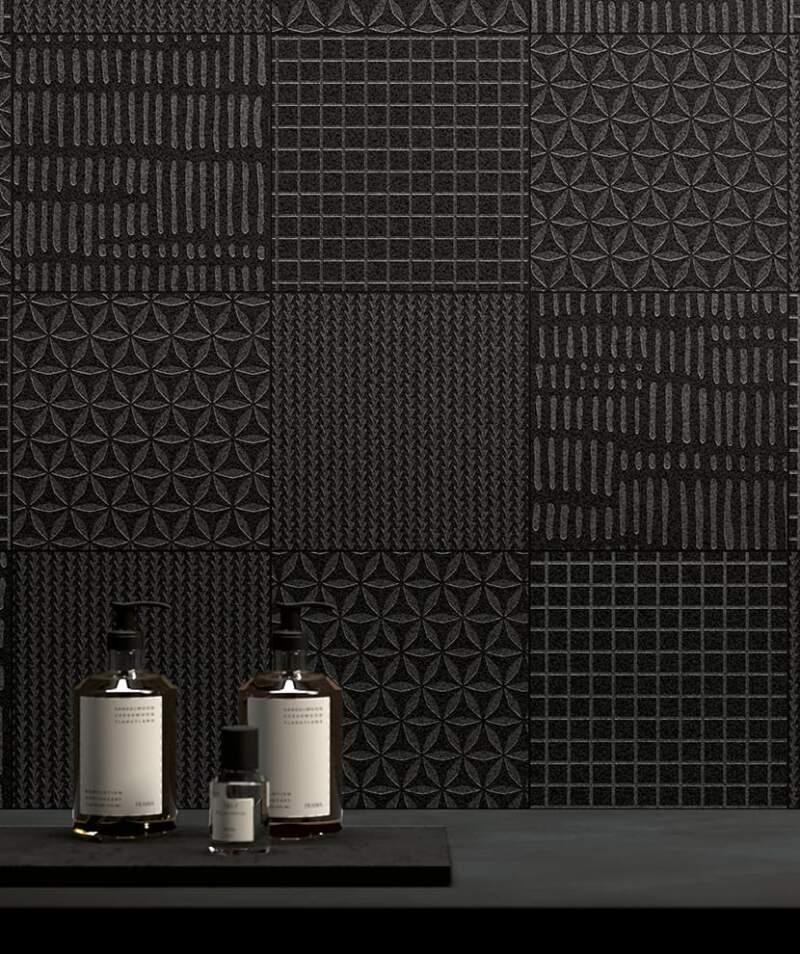 Collection grès cérame Iron. 3 coloris laiton, black et silver. 6 décors. Carreaux lisses aspect mat ou oxydé. Formats 20 x 20 jusqu'à 120 x 280 cm. Ép. 6 mm. ©Surface Carrelages.-2