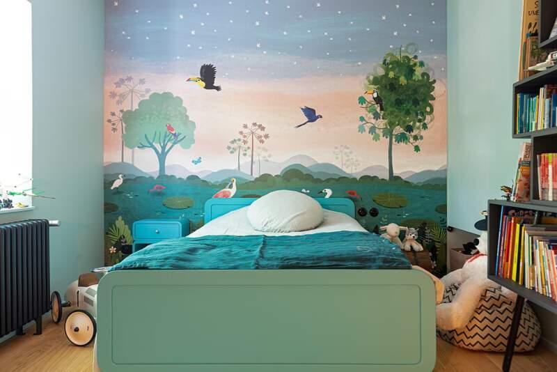 L'une des chambres des garçons. Papier peint Villa Nova